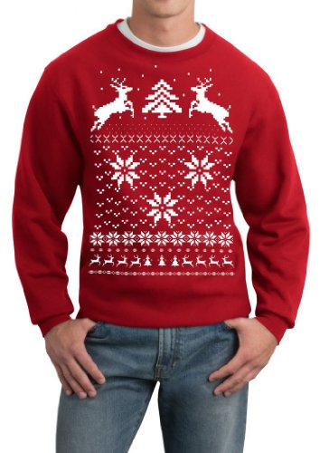 Skip N' Whistle Adult Ugly Christmas Sweater Reindeer In Snow Pullover Sweatshirt Large Red