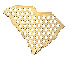 All 50 States Beer Cap Map - South Carolina Beer Cap Map SC - Glossy Wood - Skyline Workshop