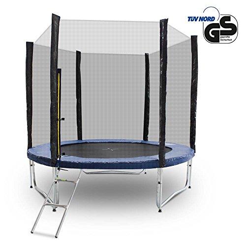 Gartentrampoline Trampoline Outdoor-Trampoline Fitness-Trampoline 250cm , inkl. Sicherheitsnetz, Leiter und Abdeckplane