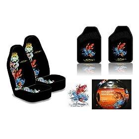 Ed Hardy Koi Fish 6 Pc Set Seat Covers Floor Mats Steering Wheel