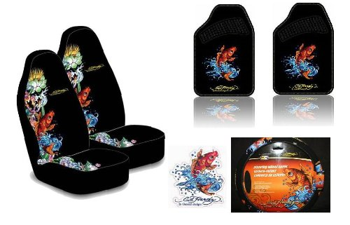 Ed Hardy Koi Fish 6-pc Set Seat Covers, Floor Mats, Steering Wheel Cover, Cling Blings Decal