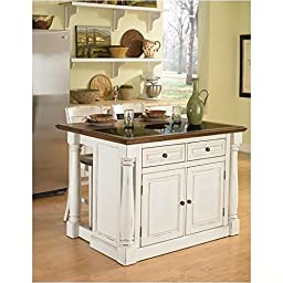 Home Styles 5021-948 Monarch Kitchen Island with Granite Top and 2 Stool, Antiqued White Finish