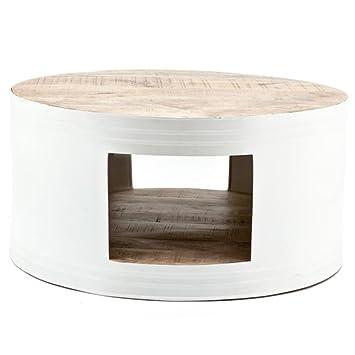Couchtisch BARREL Ø 70 cm weiß Tisch Kaffeetisch Mango Metall Sofatisch