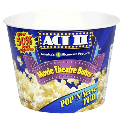 Act II Popcorn, Movie Theatre Butter Pop 'N Serve Tub, 4.2-Ounce Packages in a Tub (Pack of 36)
