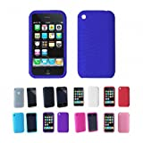 Apple iPhone 3G 3Gs 8GB 16GB 32GB Textured Silicone Skin Case Cover + Free Screen Protector, Deep Blue, One Size