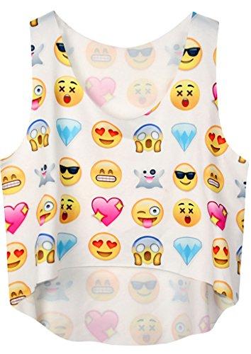 Happy Sailed Women's Summer Funny Sleeveless Emoji Print Crop Top, Medium Multicoloured-6 (Emoji Tank Top compare prices)