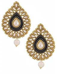 The Jewelbox Black Meenakari Enamel Pearl Gold Plated Pear Drop Ethnic Earring For Women