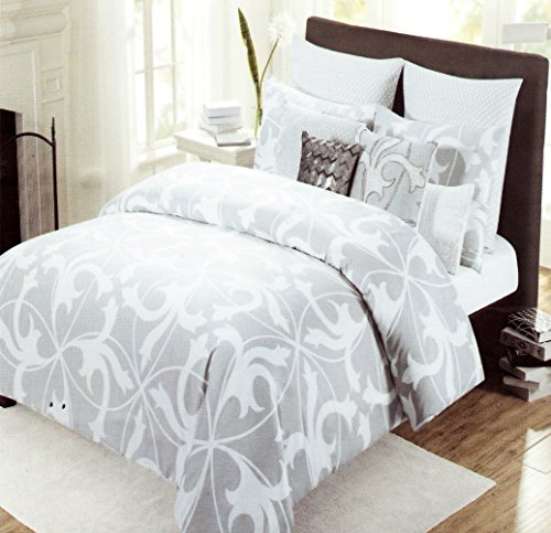 Tahari Home 3Pc Luxury Cotton Duvet Cover Set Gray White Scroll (King) front-15521
