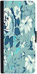 Snoogg Blue Floral Pattern 2481 Designer Protective Phone Flip Case Cover For Intex Eco 102E