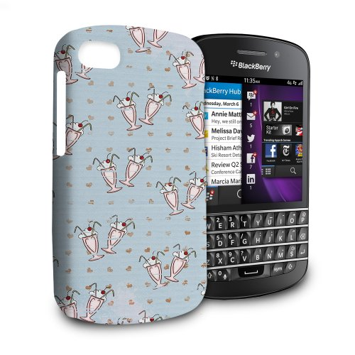 Phone Case For Blackberry Q10 - Cherry Sundaes Blue Snap-On Hard
