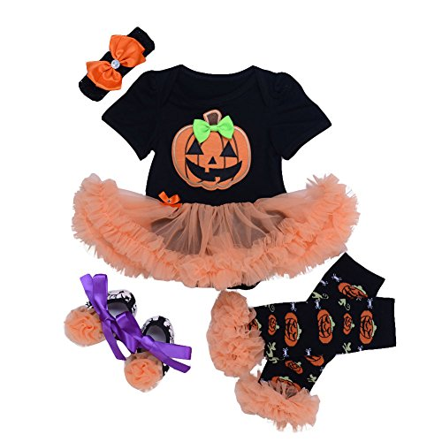 ANDI ROSE Baby-Girls Halloween TUTU Dress|Baby Leg Warmer|Hat Hairpin(4pcs)