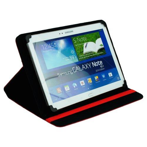 """M0341 Bookstyle Leder PC Tasche Rot Etui Hülle Case Buch 10.1"""" 10,1"""" 10,1 Zoll mit Kletthalterung für Point of View ProTab 3XXL"""
