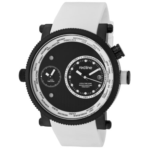 red line Men's 50037-BB-01-WHT Specialist World Time Black Dial White Silicone Watch