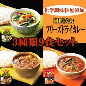 無添加フリーズドライカレー瞬間美食3種類9食セット【アマノフーズのフリーズドライカレー:日本国内製造】