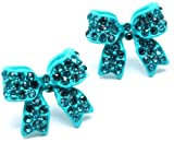 Adorable 3/4 Ribbon Bow Stud Earrings with Sparkling Turquoise Austrian Crystals - Gold Tone