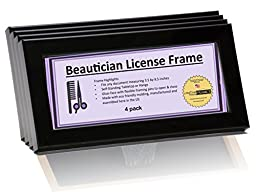 Beauty Salon License Frame Set - 3.5 by 8.5 inch Opening Self Standing Work Station Frame with Hanger (4- Pack)