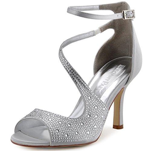 ElegantPark HP1505 Women's Peep Toe High Heels Rhinestones Buckles Satin Evening Party Prom Dress Sandals Silver US 8