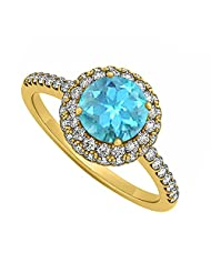 Created Blue Topaz And Cubic Zirconia Double Fashion Halo Engagement Ring In 18K Yellow Gold Plated Vermeil Plated...