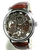 E-seven 腕時計 手巻き 機械式 レザーバンド フル スケルトン dbfsle (シルバーケース)