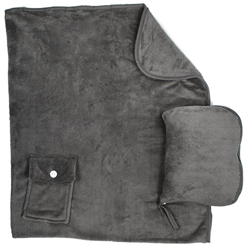 Simplicity Snooze Nap Travel Blanket & Pillow Set Great for Airplaine/Car/Train