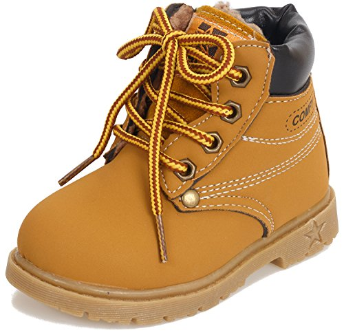 Poppin Kicks Boy Girl Soft Toe Waterproof PU Leather Insulated Winter Snow Boots 5.5 M US Toddler Tan/Fur