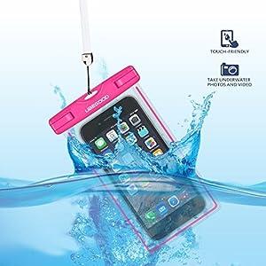 Ubegood Housse étanche Pochette Transparente et Fluorescente Certifiée Norme IPX8 avec Tactile Avant pour iPhone6 /6S/Samsung/HTC Smartphone jusqu'à 6 pouces (Rose)