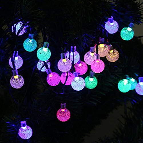 TOHUSE Outdoor Solar String Lights - Waterproof Christmas Globe Lighting Decorations for Garden Path, Party, Bedroom Decoration Size 20ft 30LED Color Rainbow (Single Color Led Christmas Lights compare prices)