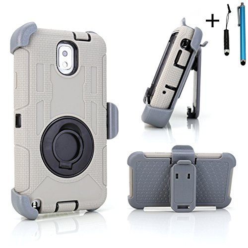 Cellular360 Ultra Shock&Drop-Proof Army-Grade Protective Case And Holster W/ Two Stylus Pens Or One Headphone Jack Stylus And One Stylus Pen For Samsung Galaxy Note 3 Iii (Please Be Advised That It'S Not For Samsung Galaxy Note 2) - Extremly Protective Du