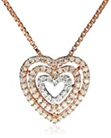 "Sterling Silver with Pink Gold Plated 1/4CTTW Diamond Heart Pendant Necklace, 18"" from The Aaron Group - HK DI"