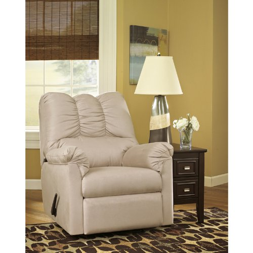 Signature Design by Ashley Darcy Rocker Recliner in Stone Fabric
