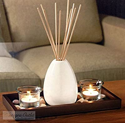 Ceramic Vase Reed Diffuser & Candle Set With Wooden Tray & Stones