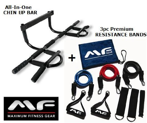 Super Sale! Maximum Fitness Gear Chin up Bar + 3pc Adjustable Resistance Bands (60 Lbs. Max) + 6 Pack ABS Guide, Best Value! Includes Padding for Door Trim Protection! Fast Shipping!