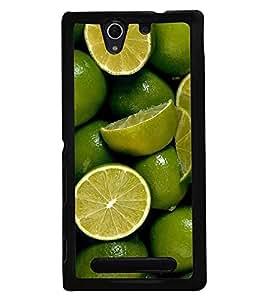 Fuson Premium Lime N Lemoni Metal Printed with Hard Plastic Back Case Cover for Sony Xperia C3