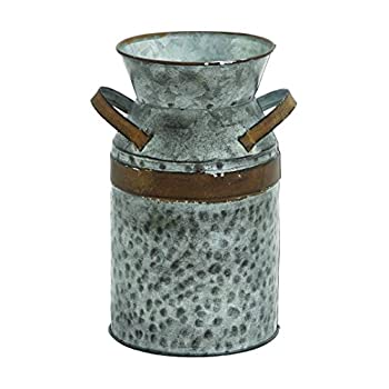 Benzara 93994 Asiatic Antique Metal Galvanized Milk Can