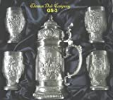 Eagle Pewter Lidded Stein & Cups - 5 pc