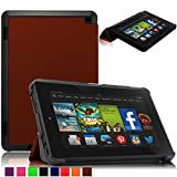 Britainbroadway 2014 Fire HD 7 Case Cover - Tri-Fold Ultra Slim Stand Case Cover With Smart Cover Auto Wake/Sleep Case For Amazon New Kindle Fire HD 7.0 Inch 4th Generation Tablet (Fire HD 7, Brown)