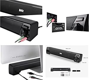 Britz Computer 2ch Stereo Soundbar Speaker Ba-r9 USB Power 3.5mm 6w Headphone Jack Microphone Jack