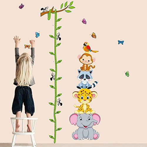 LiveGallery Cartton Tree Branches & Vines Height Chart Measurement Wall Decal Animals Elephant Monkey Growth Charts Wall Stickers Removable DIY art Decor for Girls Boys kids Nursery Baby Playroom (Large Ruler Growth Chart compare prices)
