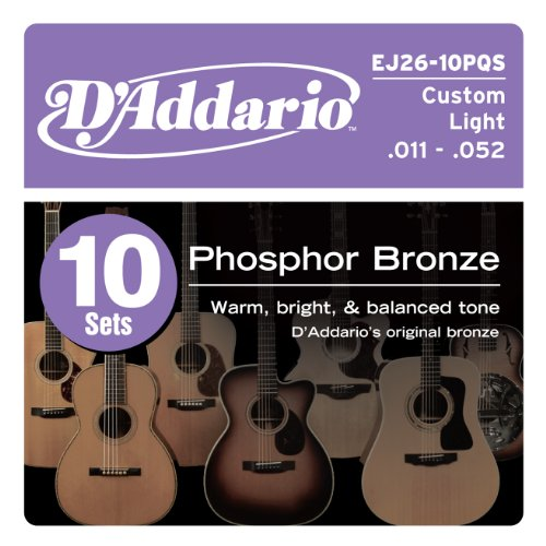 D'Addario EJ26-10P Phosphor Bronze 11-52 Custom Light Acoustic Guitar Strings Quick Ship Box (Pack of 10)