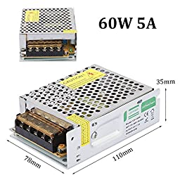 RedSonics(TM) LED Driver Lighting Regulated Transformer Adapter AC 110-260V to DC 12V 60W Power Supply For LED Strip Light LD507