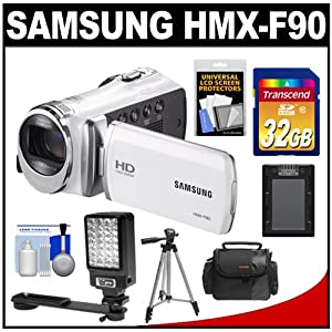 Samsung HMX-F90 HD Digital Video Camcorder (White) with 32GB Card + Case + Battery + LED Video Light + Tripod + Accessory Kit