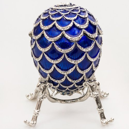 Pine Cone Blue Faberge Egg Box, Limited Ed.