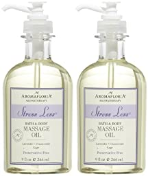 STRESS LESS by Aromafloria BATH AND BODY MASSAGE OIL 9 OZ BLEND OF LAVENDER, CHAMOMILE, AND SAGE