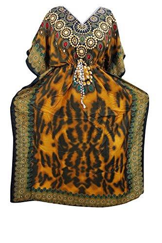 Indiatrendzs Women's Long Printed Boho Yellow Kaftan With Dori At Waist  available at amazon for Rs.386