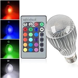 Faretto lampada led rgb da 9w con telecomando attacco e27 for Faretto led rgb