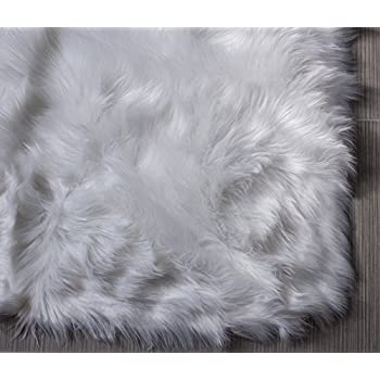 Super Area Rugs Soft Faux Sheepskin Flokati Shag Silky Rug Baby Nursery Childrens Room Rug in White, 5 x 7