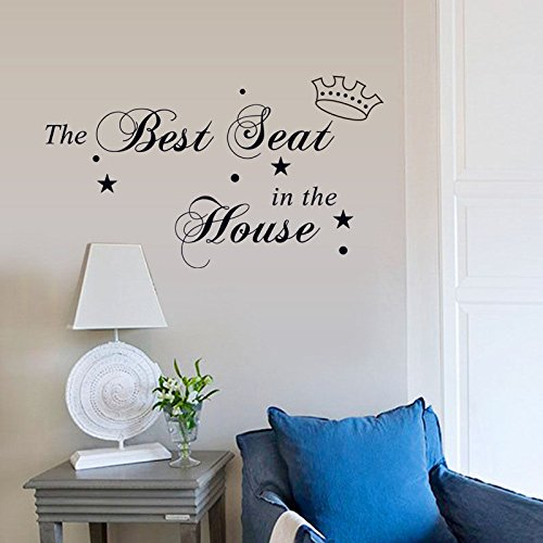 Home decal the best seat in the house removable wall for Best brand of paint for kitchen cabinets with blackout window stickers