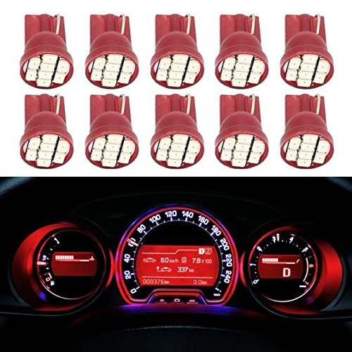 Partsam 10pcs Red T10 194 168 LED Light Bulb 8-SMD Chip Instrument Panel Cluster Speedometer Odometer Gauges Dash Lighting Lamp (Toyota Odometer compare prices)