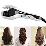 CoFashion Fashion LCD Display Anion Harmless Ceramic Hair Curling Wand Automatic Easy Time-saving Smart Thermostat Hair Curling Iron Wave Curl Curler Studio Hair Beauty Salon Valentine's Day Gift White Pear Exquisite Packaging Box