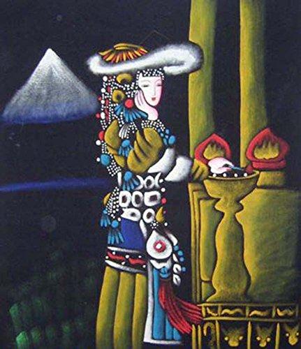 "Batik Folk Art Painting 33x36"" Miao Hmong Artist #278"
